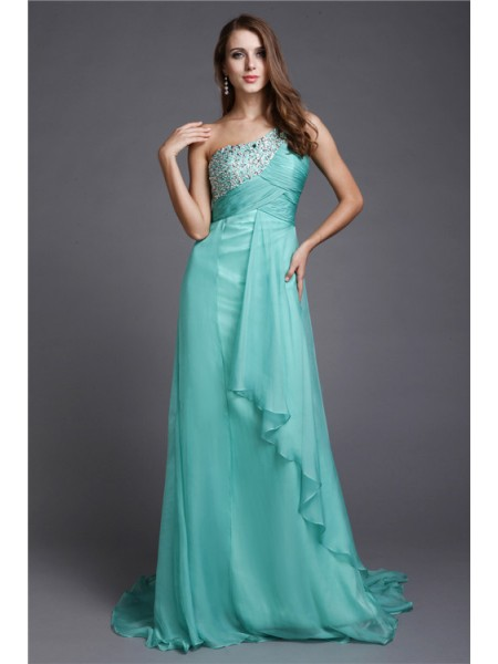Sleeveless One-Shoulder Sweep/Brush Train Green Dresses