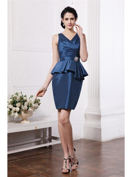 Sleeveless V-neck Short Dark Navy Dresses