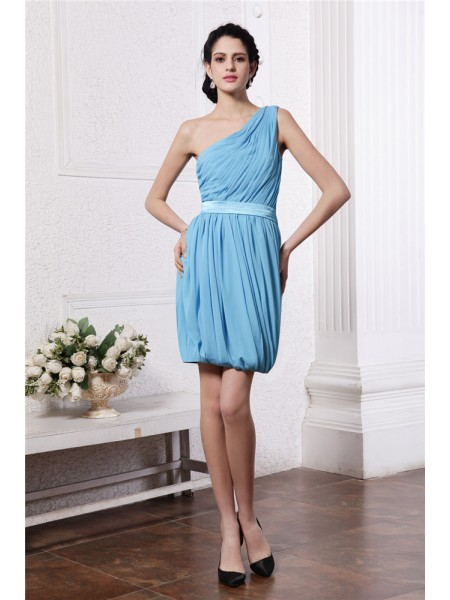 Sleeveless One-Shoulder Short Light Sky Blue Dresses