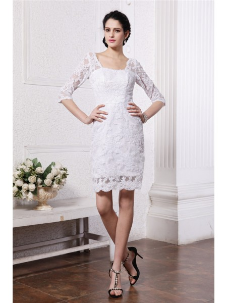 1/2 Sleeves Bateau Short White Wedding Dresses