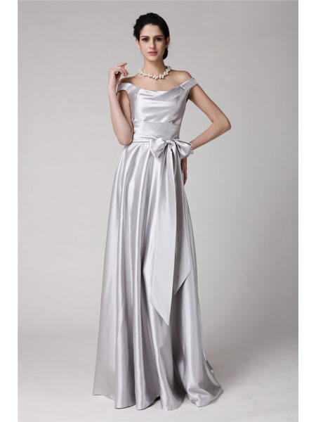 Sleeveless Off-the-Shoulder Long Silver Dresses