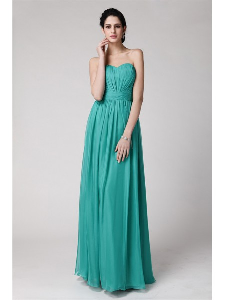 Sleeveless Sweetheart Long Green Bridesmaid Dresses