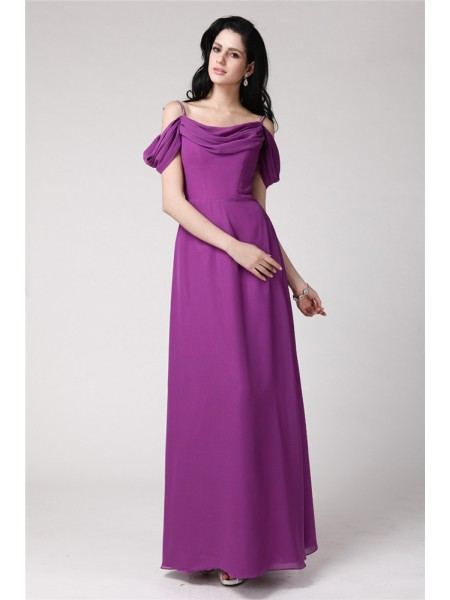 Sleeveless Spaghetti Straps Long Lilac Bridesmaid Dresses