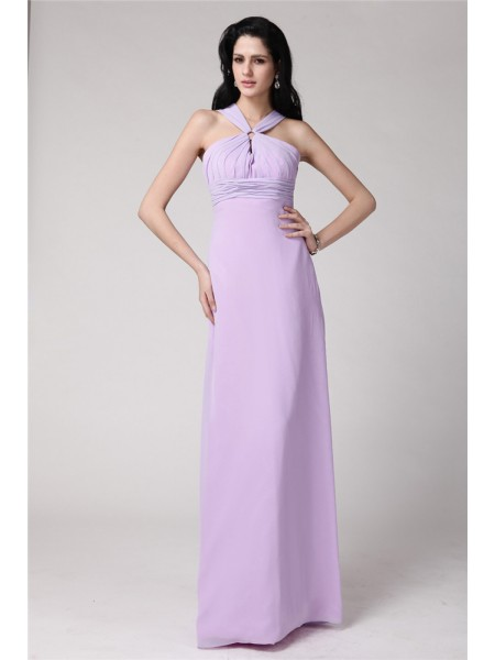 Sleeveless High Neck Long Lavender Bridesmaid Dresses