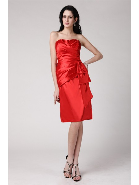 Sleeveless Strapless Short Red Dresses