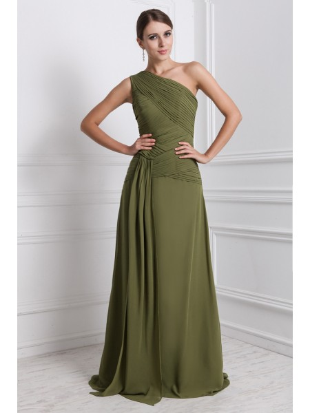 Sleeveless One-Shoulder Long Green Dresses