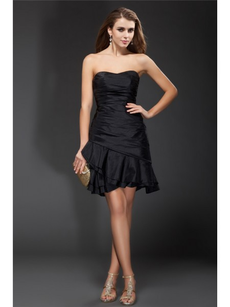 Sleeveless Strapless Short Black Dresses