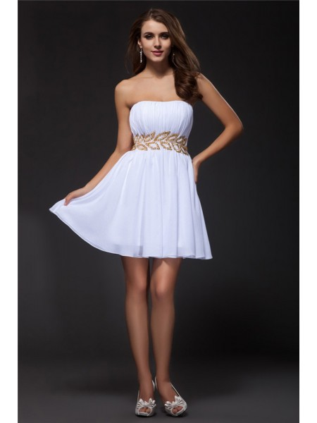 Sleeveless Strapless Short White Dresses
