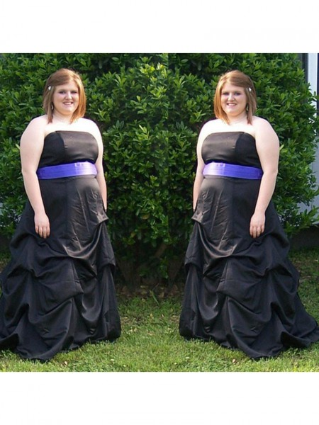 Sleeveless Strapless Sweep/Brush Train Plus Size Black Dresses