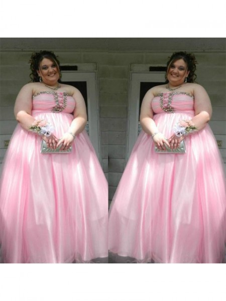Sleeveless Strapless Long Plus Size Pink Dresses