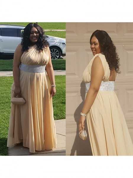 Sleeveless One-Shoulder Long Plus Size Champagne Dresses