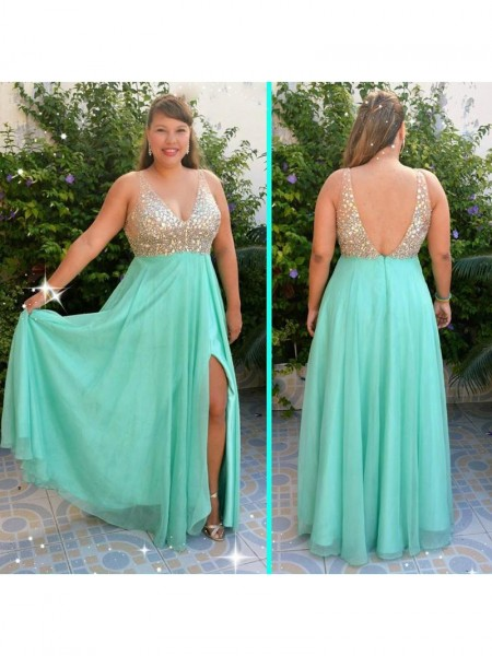 Sleeveless V-neck Long Plus Size Blue Dresses