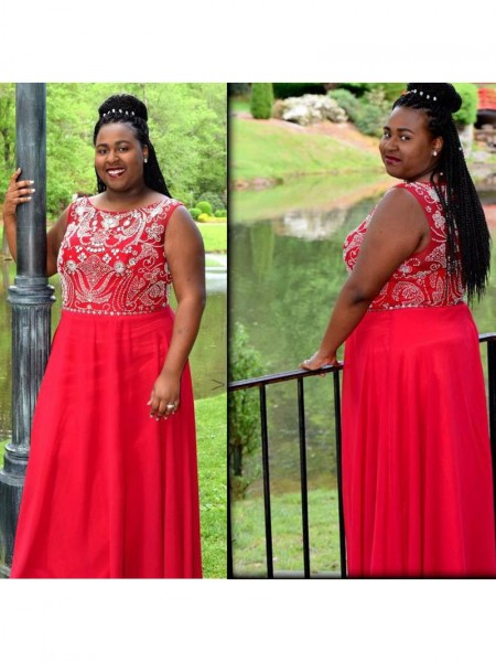 Sleeveless Scoop Long Plus Size Red Dresses