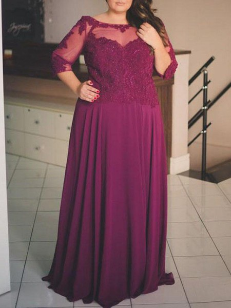 1/2 Sleeves Bateau Long Plus Size Burgundy Dresses