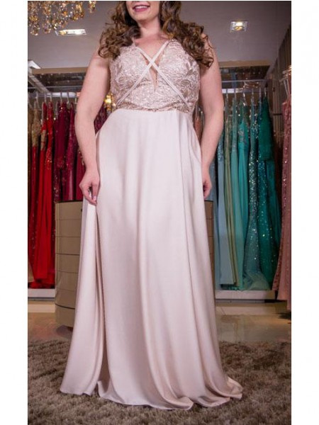 Sleeveless V-neck Long Plus Size Pearl Pink Dresses
