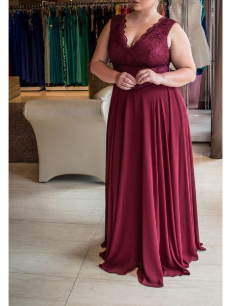 Sleeveless V-neck Sweep/Brush Train Plus Size Burgundy Dresses