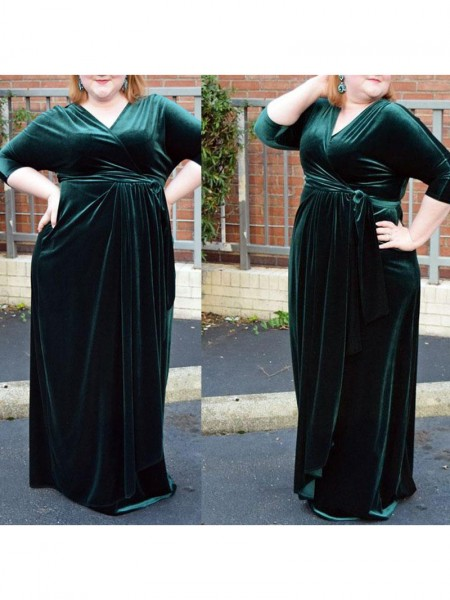 1/2 Sleeves V-neck Long Plus Size Dark Green Dresses