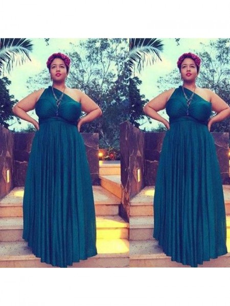 Sleeveless One-Shoulder Long Plus Size Dark Green Dresses