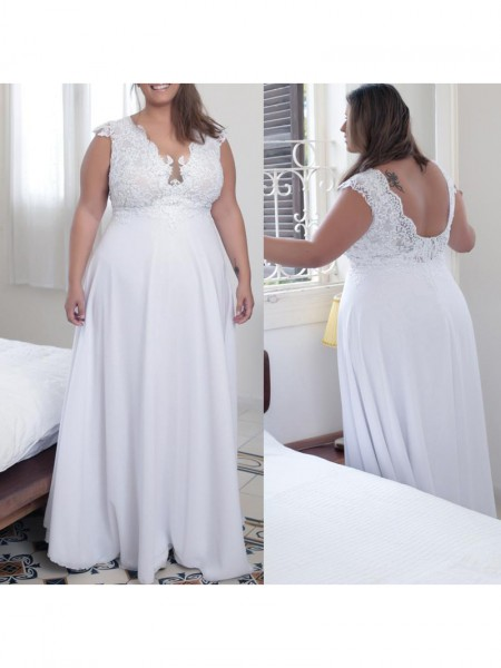 Sleeveless V-neck Long Plus Size White Dresses