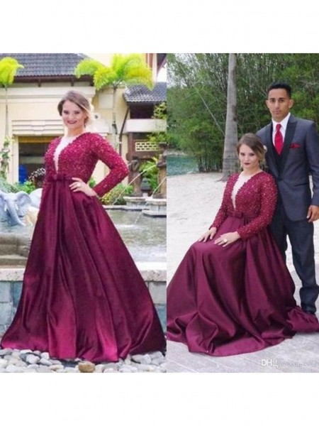 Long Sleeves V-neck Sweep/Brush Train Plus Size Burgundy Dresses
