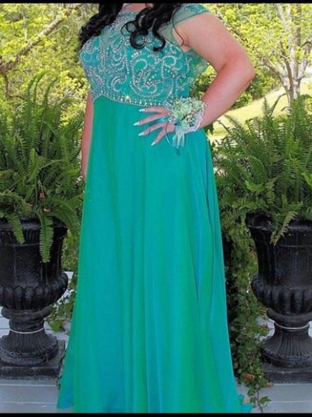 Sleeveless Scoop Long Plus Size Green Dresses