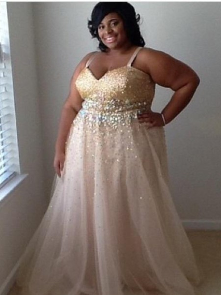 Sleeveless Spaghetti Straps Long Plus Size Champagne Dresses