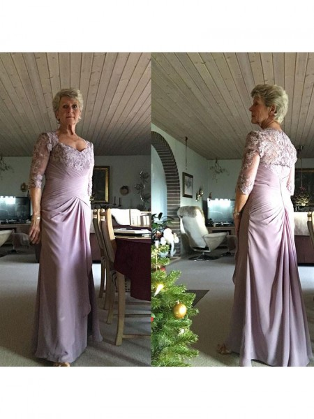 1/2 Sleeves Sweetheart Long Plus Size Lilac Mother of the Bride Dresses