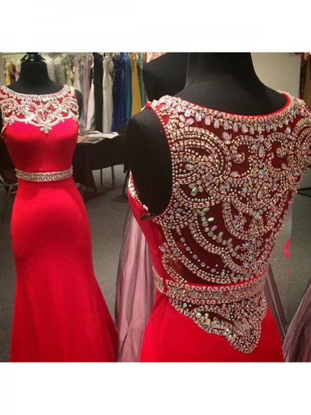 Mermaid Sleeveless Scoop Sweep Train Red Spandex Prom Dresses