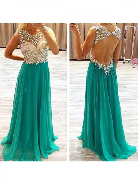 A-Line/Princess Sleeveless Sheer Neck Sweep Train Hunter Green Chiffon Prom Dresses