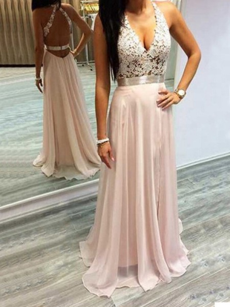 A-Line/Princess Sleeveless Halter Sweep Train Pearl Pink Chiffon Prom Dresses