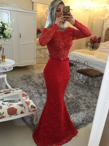 Mermaid Long Sleeves Scoop Sweep Train Red Lace Prom Dresses
