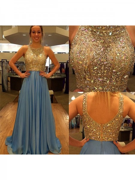A-Line/Princess Sleeveless Scoop Sweep Train Blue Chiffon Prom Dresses