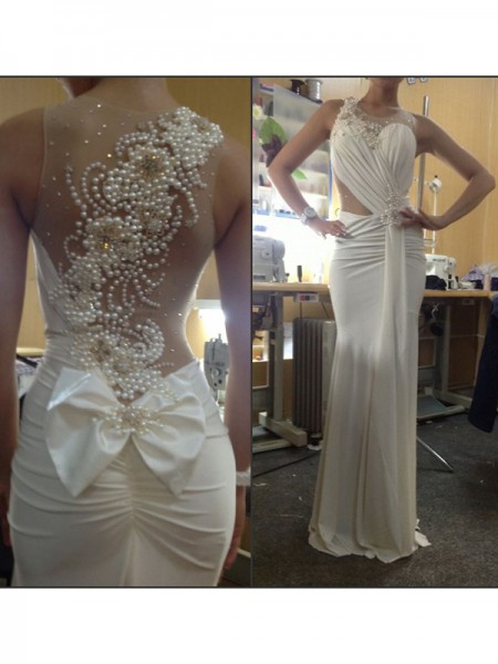 Mermaid Sleeveless Scoop Sweep Train White Chiffon Prom Dresses