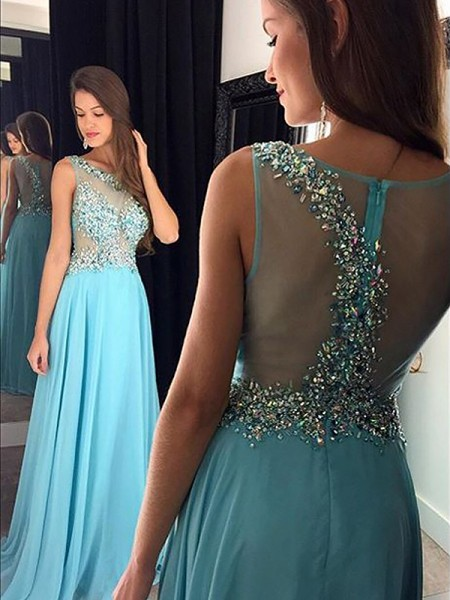A-Line/Princess Sleeveless Bateau Long Light Sky Blue Chiffon Prom Dresses