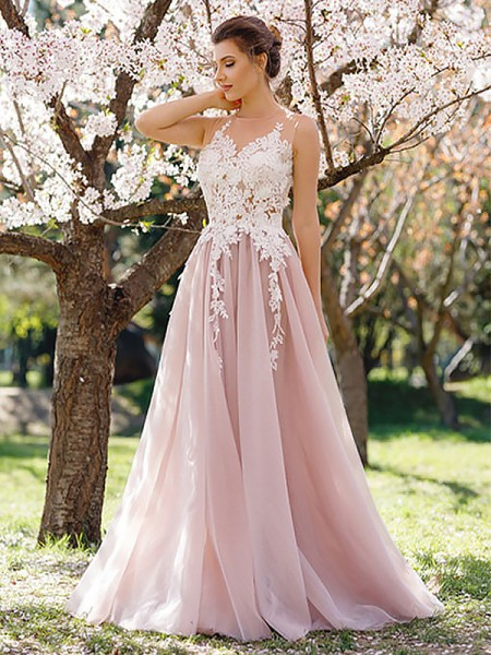 A-Line/Princess Sleeveless Jewel Long Pink Tulle Prom Dresses