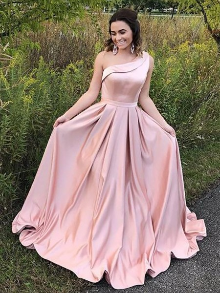 A-Line/Princess Sleeveless One-Shoulder Sweep Train Pink Satin Prom Dresses