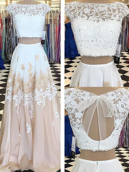 A-Line/Princess Sleeveless Bateau Long White Chiffon Prom Dresses