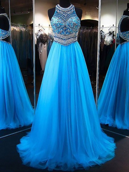 A-Line/Princess Sleeveless Jewel Sweep Train Blue Tulle Prom Dresses