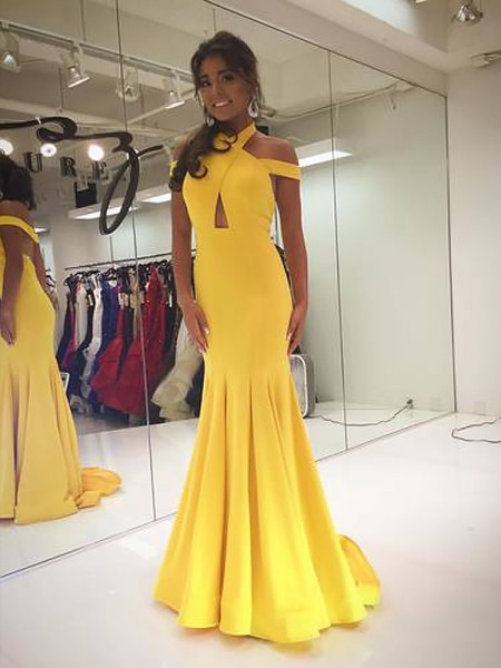 A-Line/Princess Sleeveless Halter Long Daffodil Satin Prom Dresses