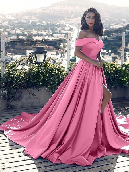 A-Line/Princess Sleeveless Off-the-Shoulder Court Train Pink,Blue Satin Prom Dresses