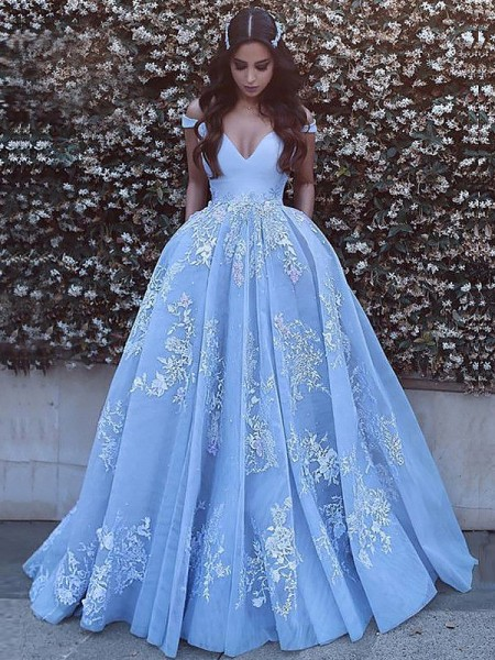 Ball Gown Sleeveless Off-the-Shoulder Sweep Train Blue Tulle Prom Dresses