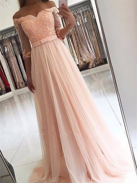 A-Line/Princess 3/4 Sleeves Off-the-Shoulder Sweep Train Pink Tulle Prom Dresses