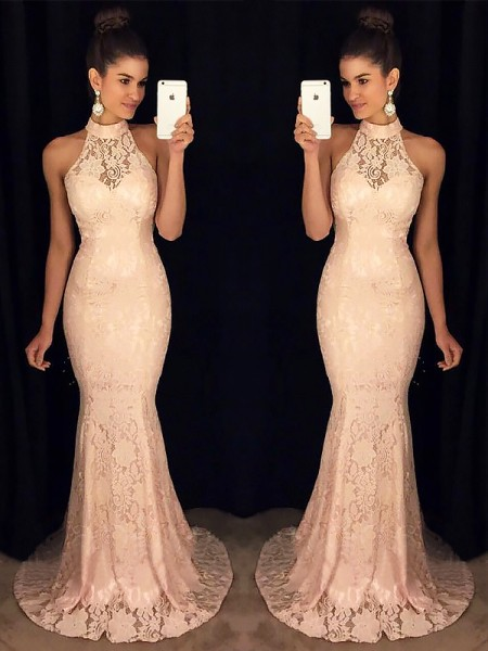 Mermaid Sleeveless High Neck Sweep Train Pink Lace Prom Dresses