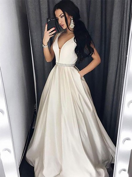 A-Line/Princess Sleeveless V-neck Long White Satin Prom Dresses