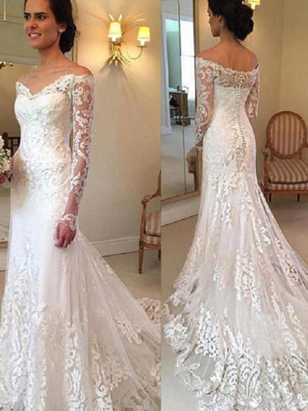Trumpet/Mermaid Lace Applique Off-the-Shoulder Long Sleeves Court Train Ivory Wedding Dresses