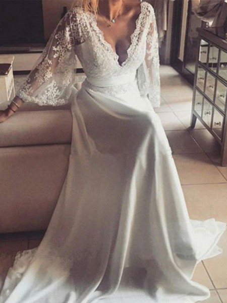 A-Line/Princess Lace Sash/Ribbon/Belt V-neck Long Sleeves Court Train Ivory Wedding Dresses