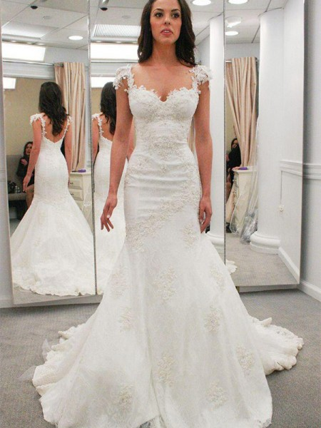 Trumpet/Mermaid Lace Applique Sweetheart Short Sleeves Chapel Train Ivory Wedding Dresses