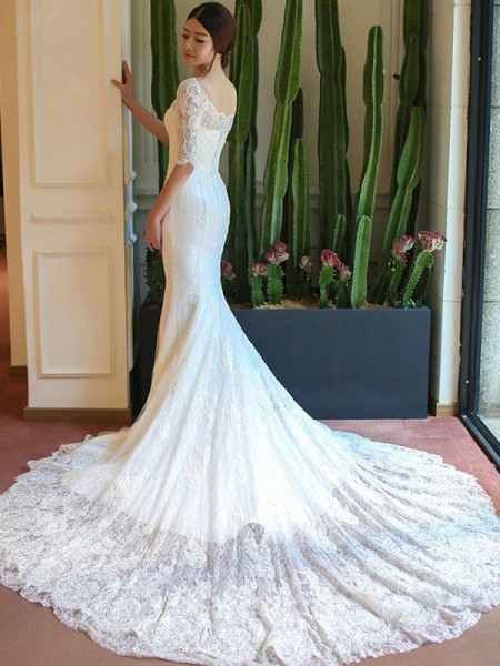 Trumpet/Mermaid Lace Applique Square 1/2 Sleeves Cathedral Train White Wedding Dresses