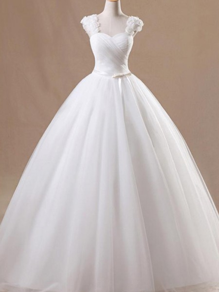 Ball Gown Tulle Ruffles Square Sleeveless Floor-Length White Wedding Dresses