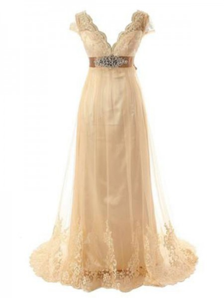 A-Line/Princess Tulle Beading V-neck Short Sleeves Sweep/Brush Train Champagne Wedding Dresses